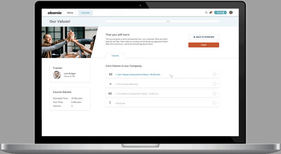 Startbildschirm eines Kurses in der elearnio Talent Management Software